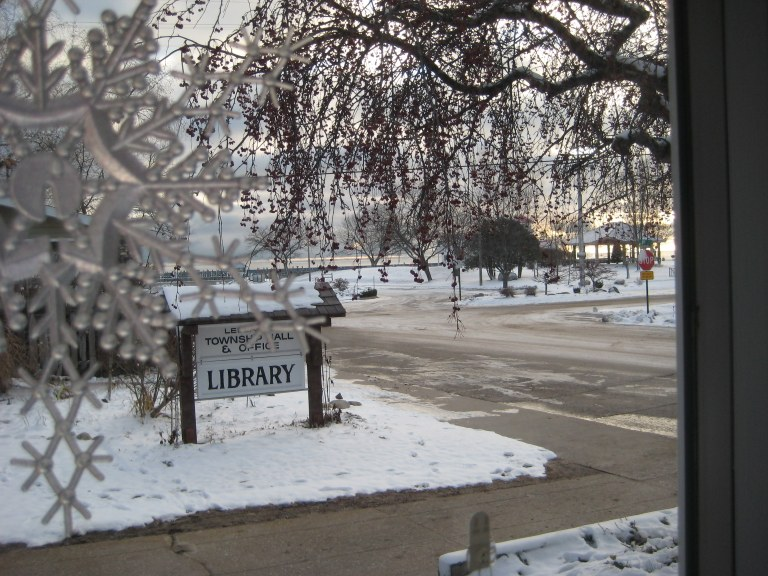 Icy morning at library
