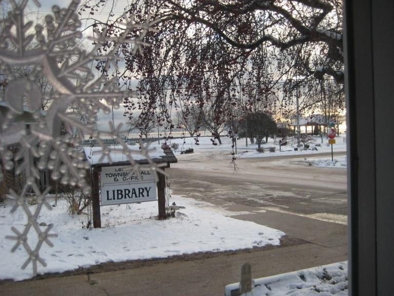 Icy morning at library